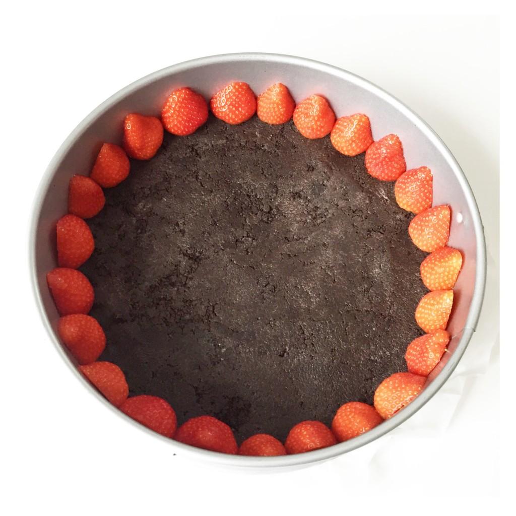 aardbeien kwarktaart met oreo