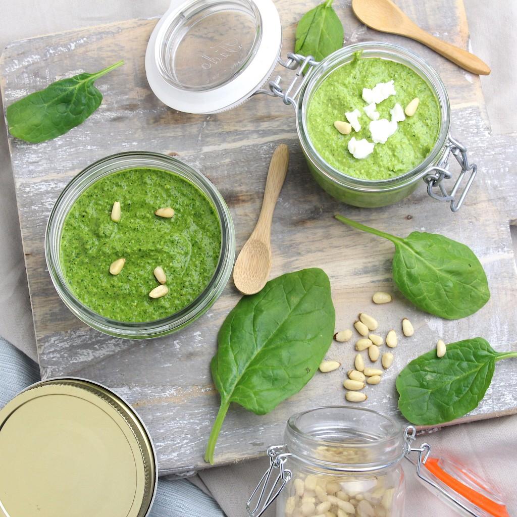 Twee soorten spinazie pesto
