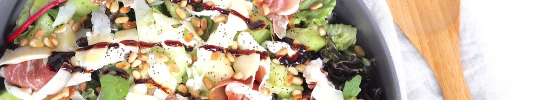 Salade met meloen, rauwe ham en buffel mozzarella