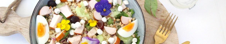Couscous salade met gerookte kip, druiven en geitenkaas