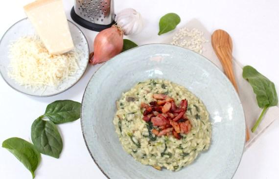 Risotto met spinazie, champignons en spekjes