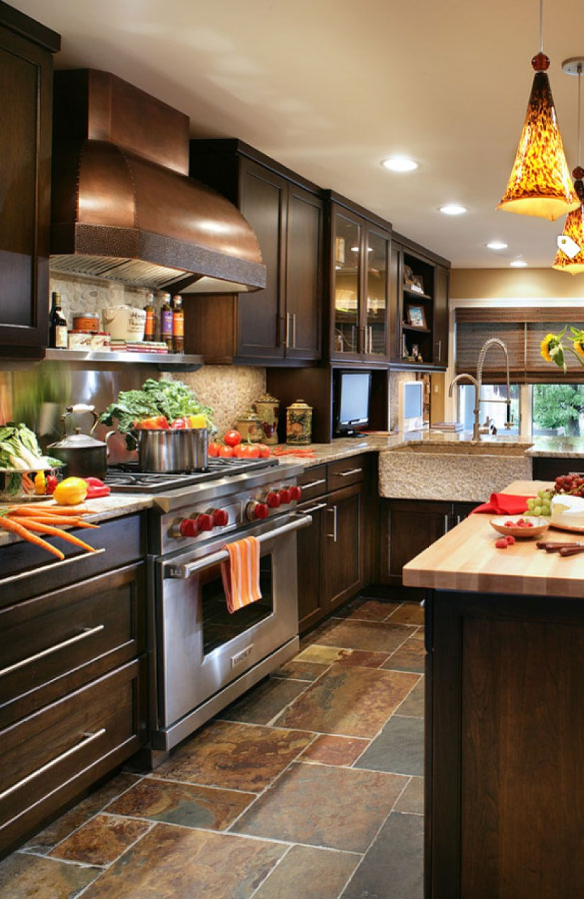 kitchen countertop ideas with dark Cabinets