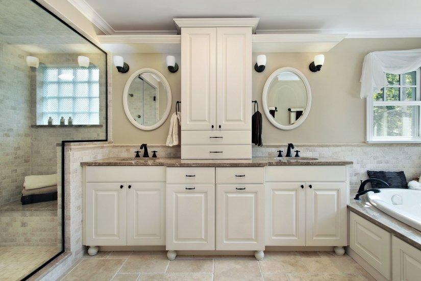 bathroom vanity and linen cabinet combo