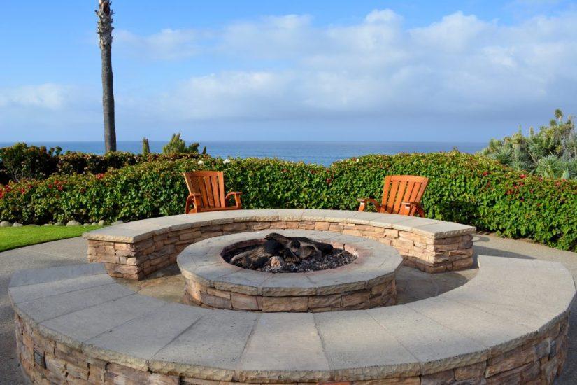 backyard landscape firepit