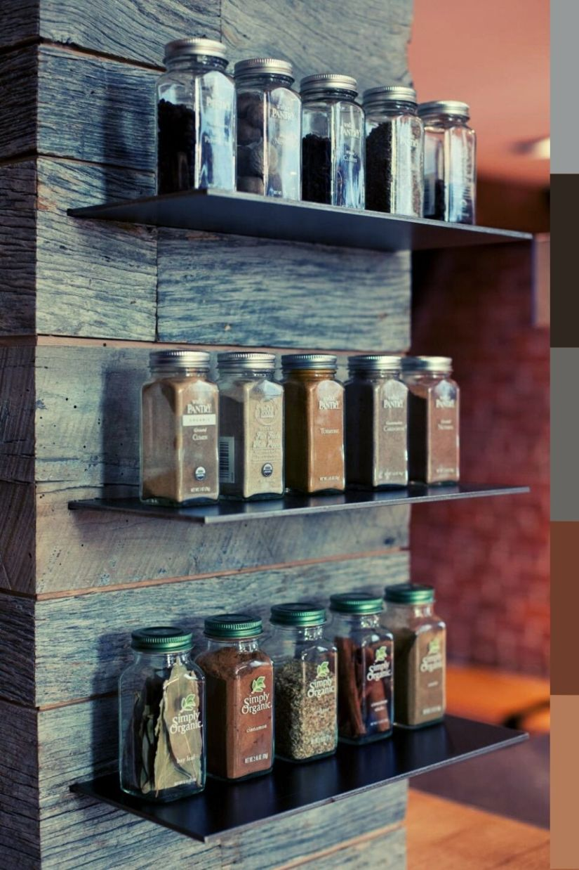 floating wall mounted spice rack ideas