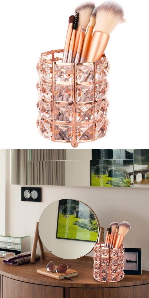 crystal brush holder