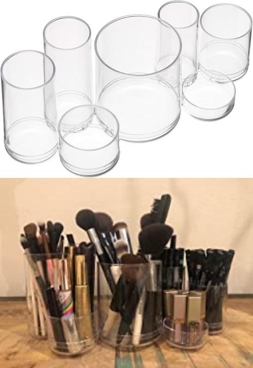 cylindrical brush makeup storage