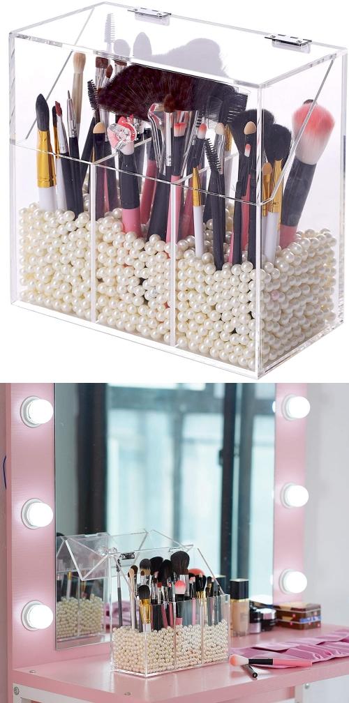 covered brush makeup storage