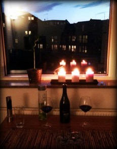 Candlelit dinner at home