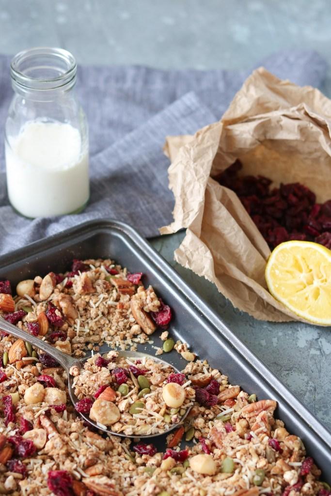 Photo: Lemon, ginger & cranberry granola