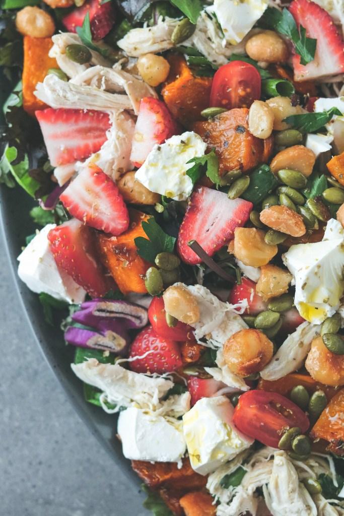 Photo: Maple pumpkin, chicken & strawberry salad