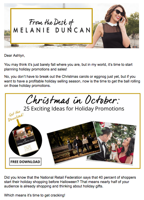 Melanie Duncan email from Ashlyn Writes Copywriting Blog