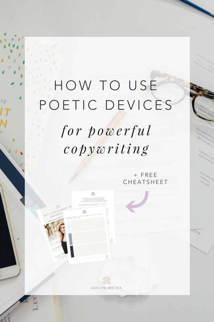 How to use poetic devices to be a better copywriter in your creative business by Ashlyn Carter of Ashlyn Writes