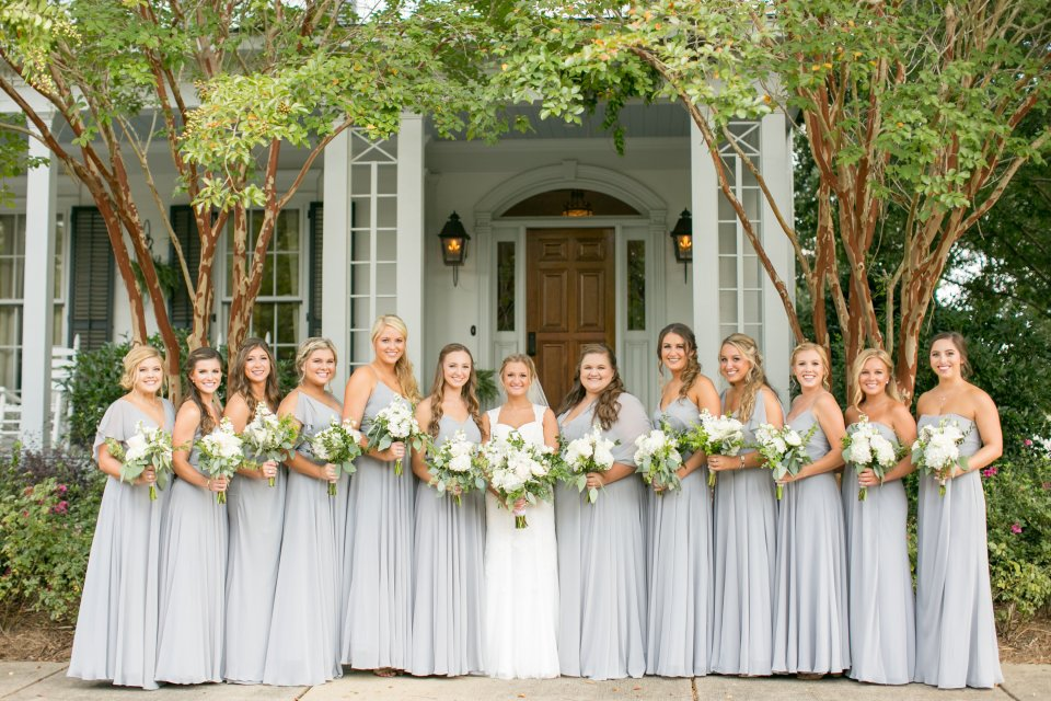 Classic southern wedding and bridesmaids in oxford mississippi