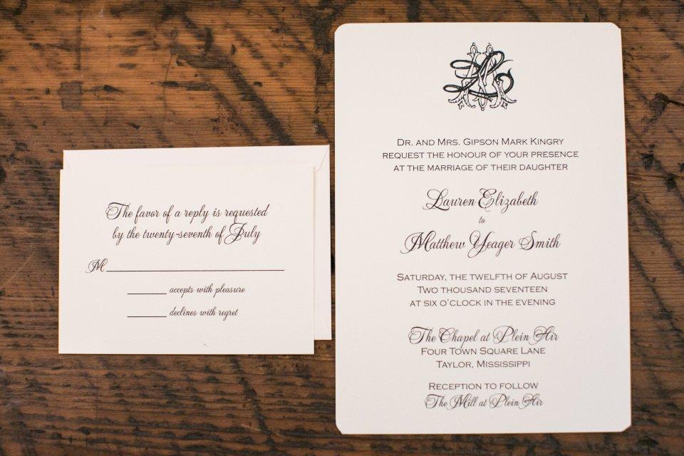 classic mississippi monogram and wedding invitation suite by atlanta wedding calligrapher ashlyn carter of ashlyn writes