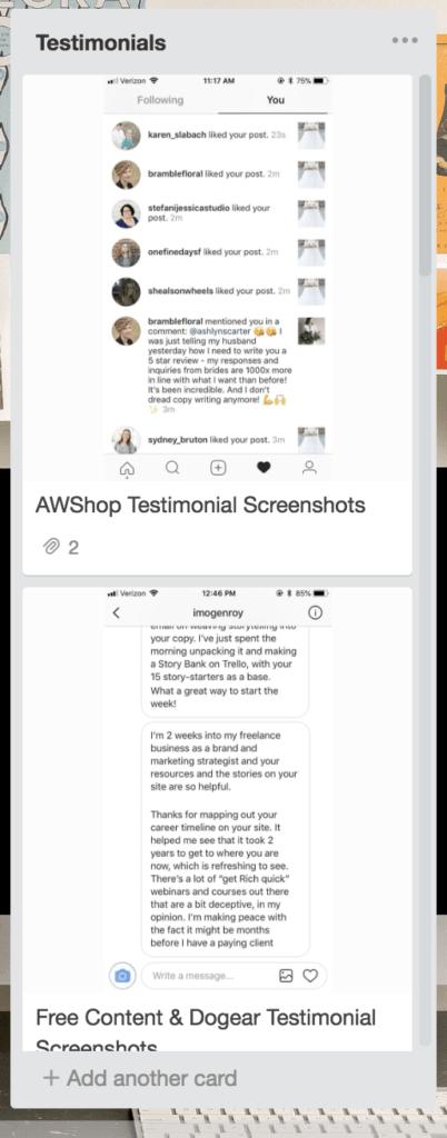AW Trello How to - Testimonials