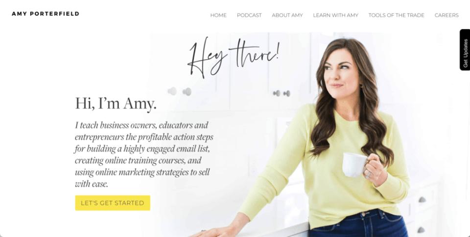 Amy Porterfield Website Screenshot