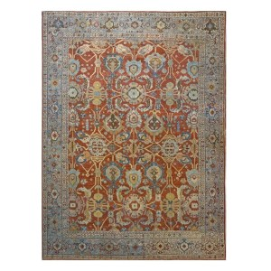 1140095 Antique Persian 9 x 12 Sultanabad Wool Rug from Ashly Fine Rugs
