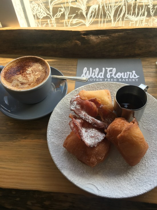 Bacon and maple syrup beignets from Wild Flours Gluten Free Bakery in Giffnock, Glasgow.