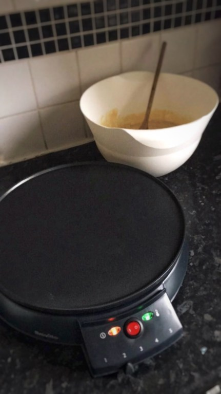 Breville Crepe Maker to make fluffy pancakes.