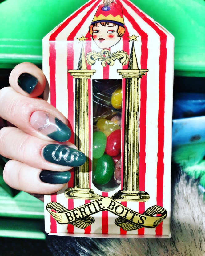 Harry Potter Slytherin Nail Inspiration/Design by Naf Salon, Glasgow