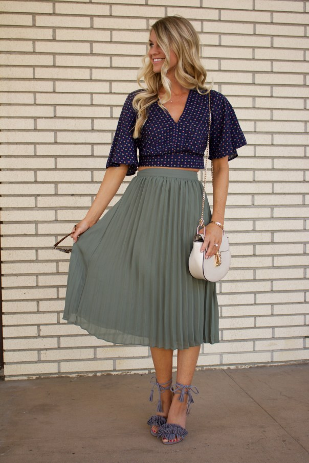 fall crop top and skirt