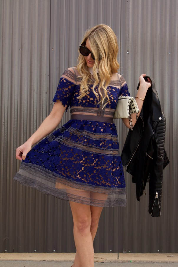 blue lace collar dress