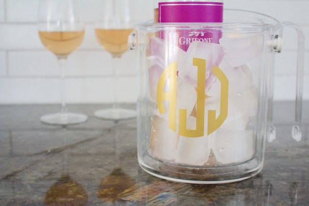 monogramed ice bucket