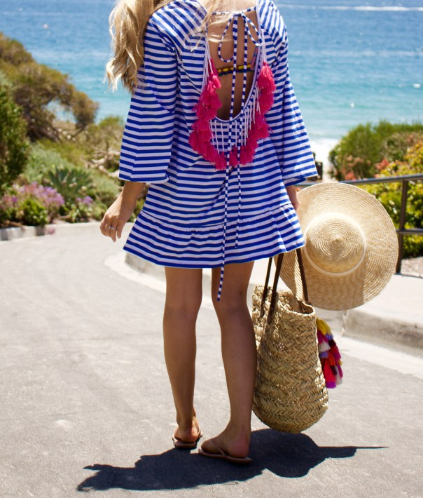 striped tassel back coverup
