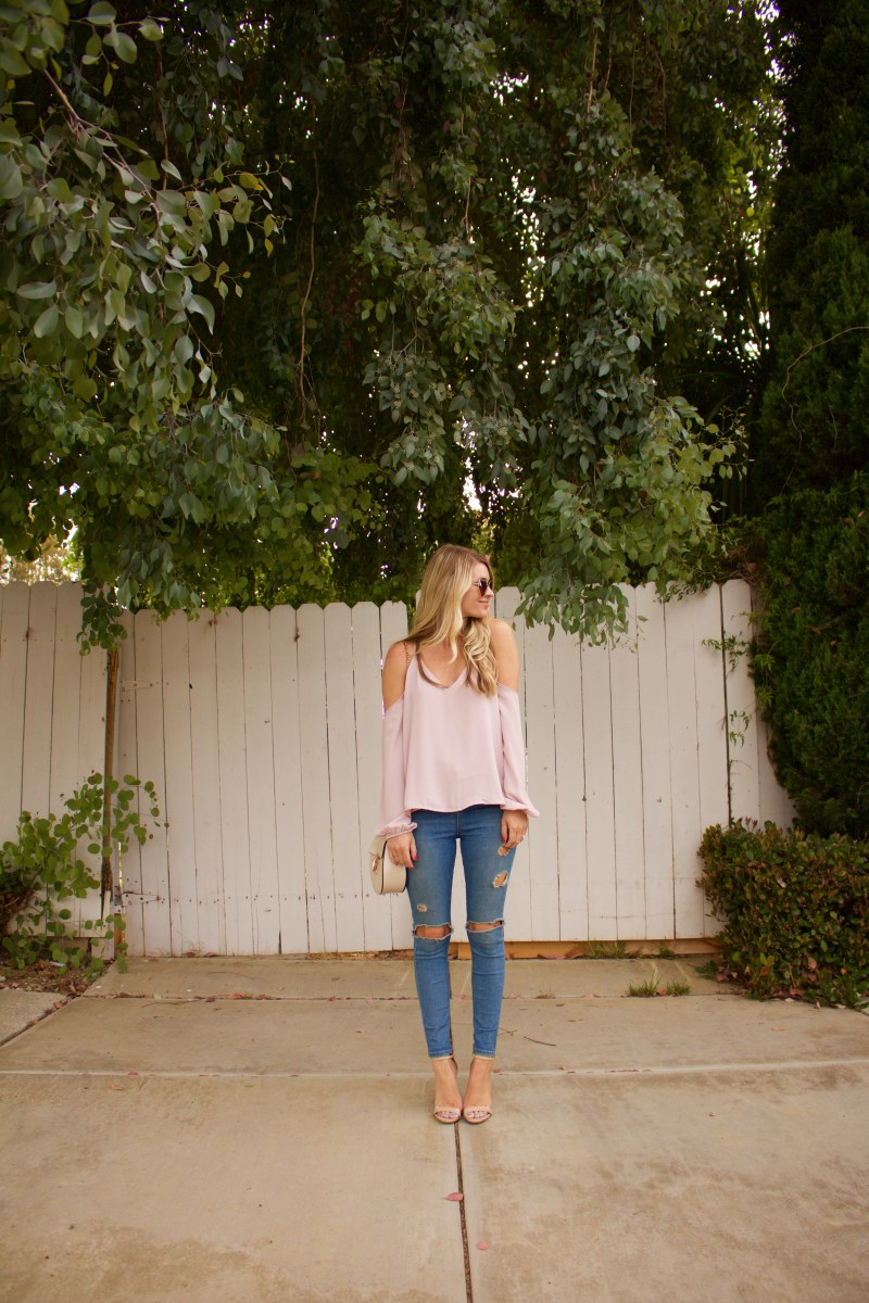 blush off the shoulder top
