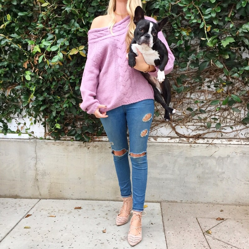 lilac off the shoulder sweater