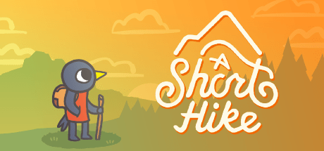 Banner showing the logo of the game A Short Hike, and the main character (a bird) looking up into the distance