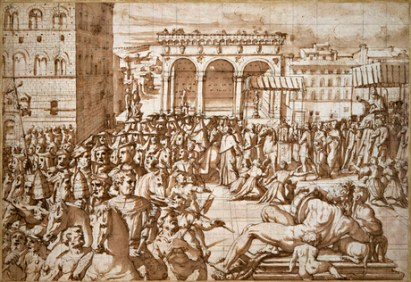 Jwjio Vsāri, Đ PṚSEŠN V PÔP LIO X ƮRU Đ PIATSA DELA SIŇWRIA IN 1515, c. 1558