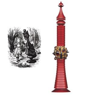 RED QĪN │ 2001-2 │ Set v 22 rñz. 18ct yelo gold wɖ gānits on a red aṇdîzd ałmiňmstand │ 19.5 x 4.8 sm │ Fôto: Jwj Gamr