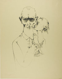 Heinrich Hoerle, 1895-1936. The Father, from Krüppel, 1920. Lithograph in black on tan wove paper, 475 x 270 mm (image); 589 x 460 mm (sheet). Margaret Fisher Endowment Fund
