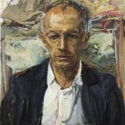 Sir Michael Moritz - The Immigrant. Oil on canvas.