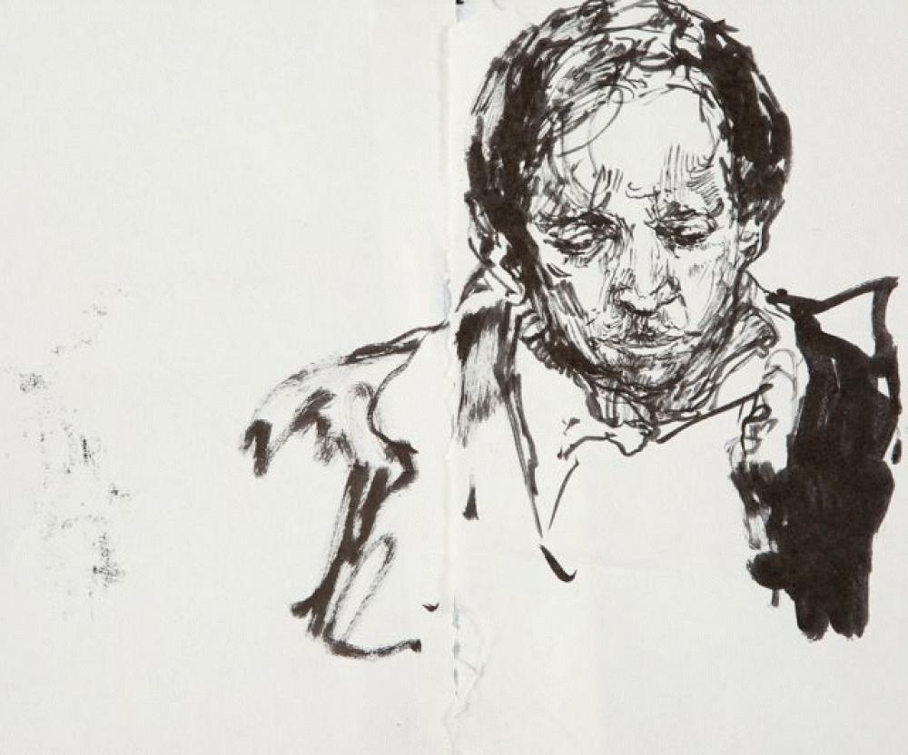 Vikram Seth - Pen and ink on paper