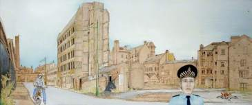 End of Arcadia Street (two). Date painted: 1977. Acrylic, pen & ink on paper, 74.3 x 168.3 cm. Collection: Glasgow Museums