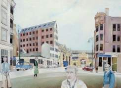 Graham Square Cotton Mill. Date painted: 1977. Acrylic, pen & pencil on paper, 66 x 88.4 cm. Collection: Glasgow Museums