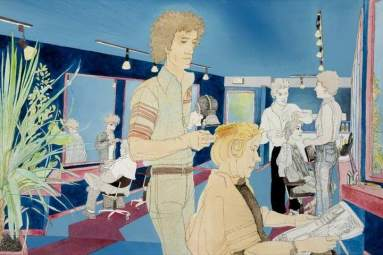 Sweeney Todd Hairdressing Salon. Date painted: 1977. Acrylic on paper, 52.3 x 76.5 cm. Collection: Glasgow Museums