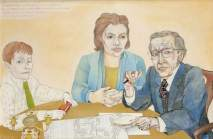 Provost McCann and Family. Date painted: 1977. Acrylic, pen, pencil & collage on board, 52.2 x 77 cm. Collection: Glasgow Museums
