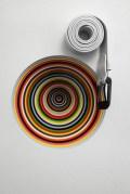 "Jim Lambie. ""Vortex (Fela Kuti)"", 2012, MDF, steel, paint, 55 x 40 x 13 cm. Courtesy the artist; The Modern Institute/Toby Webster Ltd, Glasgow and Galleria Franco Noero, Turin"