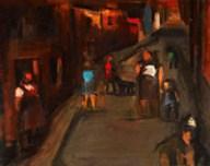 Street Scene, Ystradgynlais, by Josef Herman