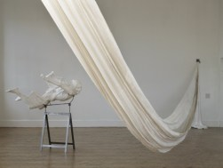 """Christine Borland. """"Cast from Nature"""", detail, Camden Arts Centre, 2011, 2 x Plaster casts, Plaster clothe, Steel Trestles, Installation Dimensions Variable."""