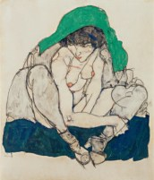 Crouching Woman with Green Kerchief, 1914. Photograph: Manfred Thumberger/Leopold Museum