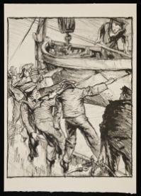 BRANGWYN, Sir Frank William. Boat-drill (1917)