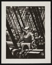 NEVINSON, Christopher Richard Wynne. Making the Engine (1917)