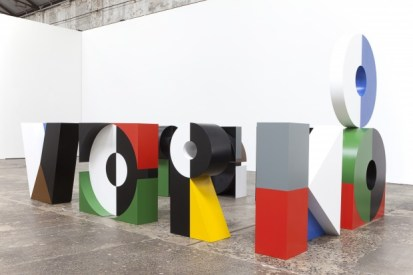 """Emily Floyd. """"Workshop"""", 2012, Steel, 2-part epoxy paint, Ferrador, Dimensions variable; each letter approx. 150 x 150 x 40 cm. Courtesy of the artist and the Anna Schwartz Gallery, Sydney and Melbourne"""