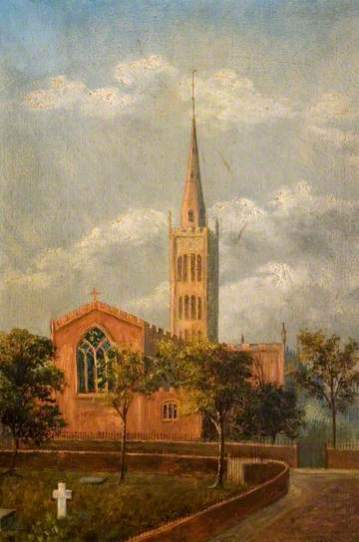 """Holy Trinity Church and Churchyard, Coventry"" by M. E. Colledge. Oil on canvas. 45.7 x 30.5 cm. Herbert Art Gallery & Museum"