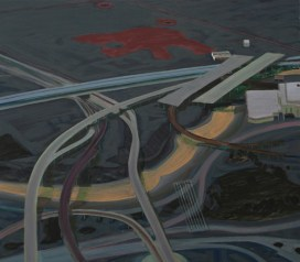 "Carol Rhodes. ""River, Roads"", Oil on board, 50 x 57 cm, 2013"